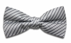 Polyester Pre-Tied Silver Grey Dickie Bow Tie with Diagonal Stripe Design